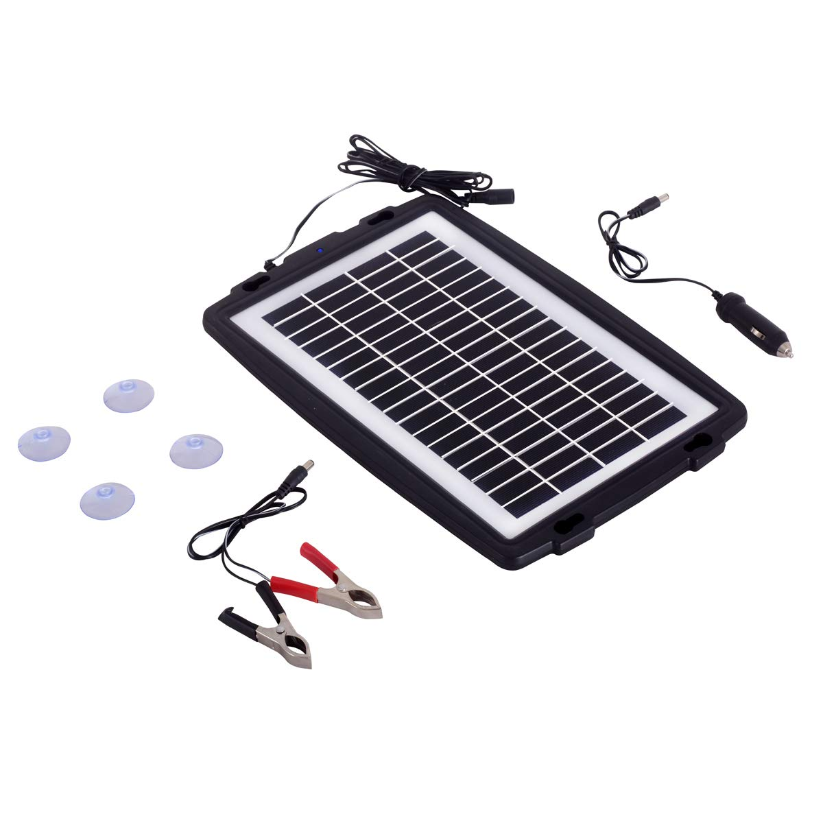 Betop-camp 10W 12V Solar Battery trickle with Plug, Battery Clip Module and Suction Cups Portable and Waterproof for Automotive, Motorcycle, Boat, RV, Powersports, Marine, Snowmobile, etc.