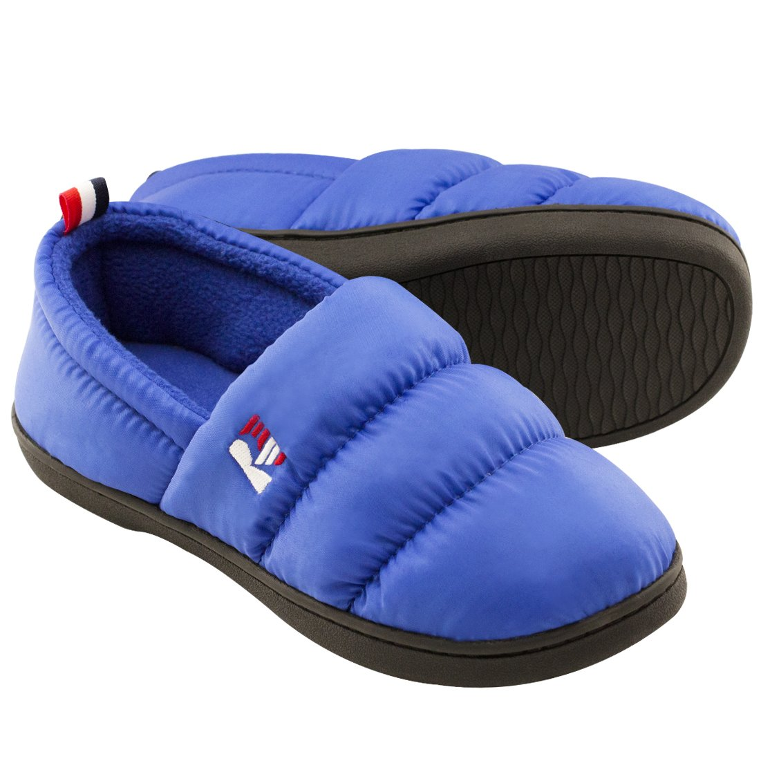 RockDove Women's Down Memory Foam Slippers Warm Fleece Lined Indoor Outdoor House Shoes, Royal Blue, 7-8 B(M) US