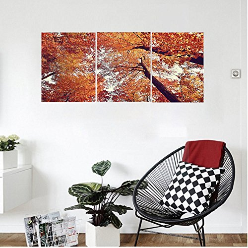 Liguo88 Custom canvas Forest Home Decor Forest with Deciduous Trees Shedding Leaf Shady Toned Magical Flora Scenery Wall Hanging for Bedroom Living Room Orange (Shady Tree Studio)