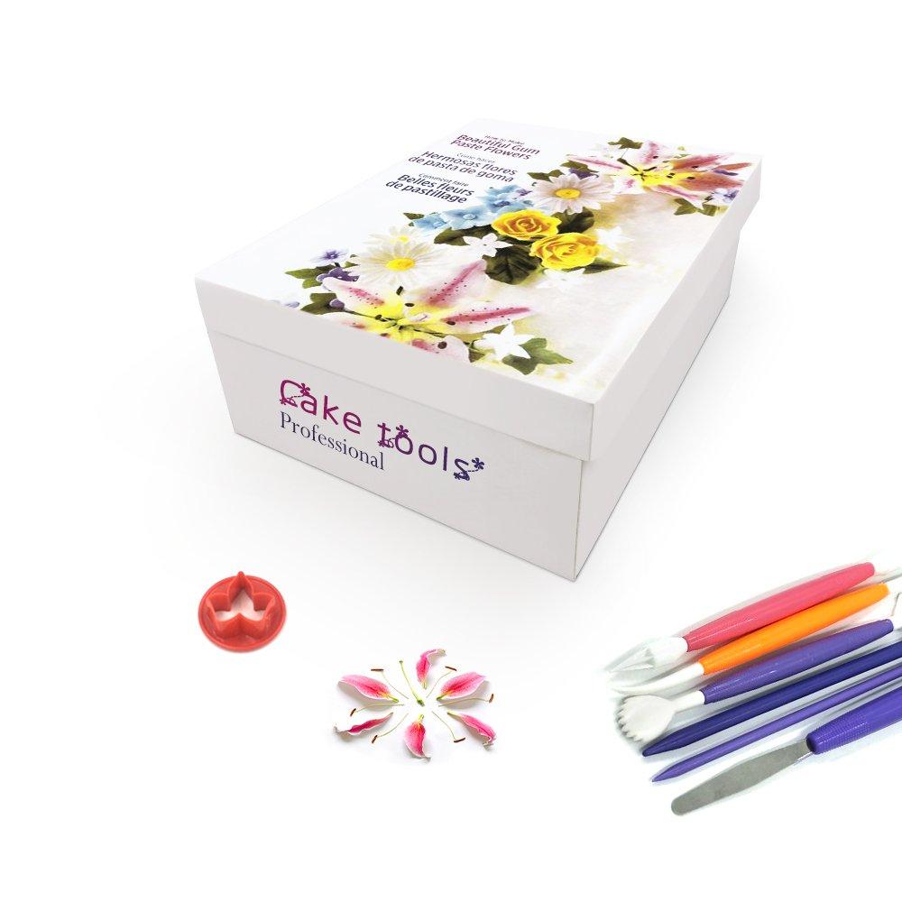 73pcs Kit de herramientas para pasta de goma flores y hojas con 36 Flores cortador Set, 2 alfombrilla de impresión, 8 herramienta de modelado, ...