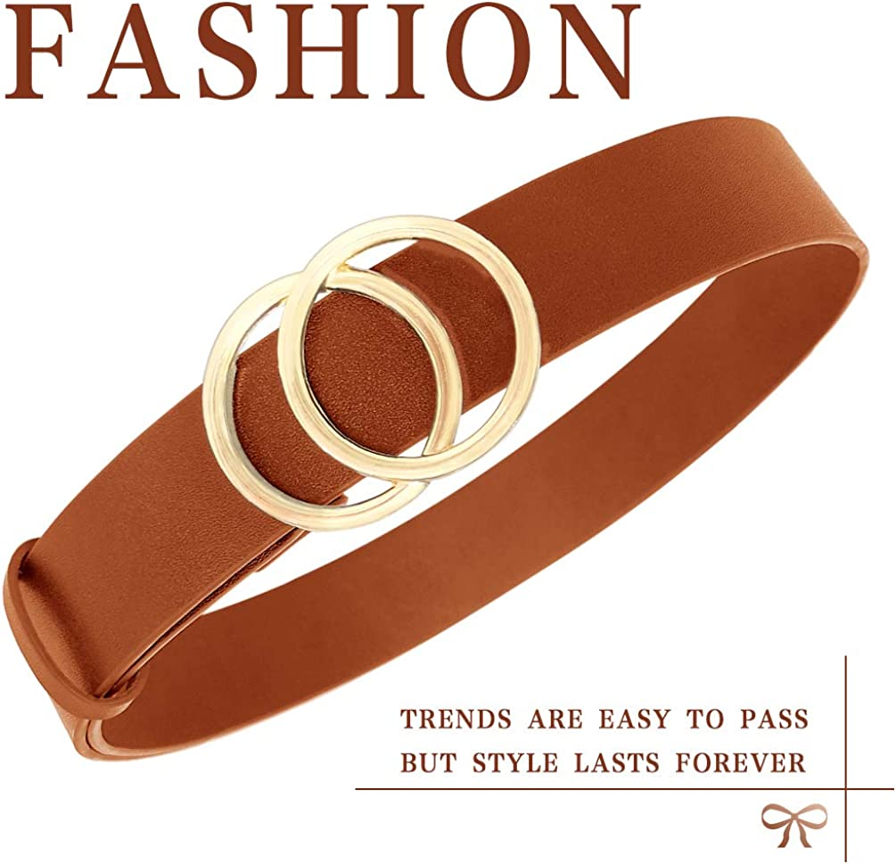 Geniue Leather Cute Ladies Belt for Jeans Dress Pants with Fashion O-Ring Buckle WONDAY Women Leather Belt