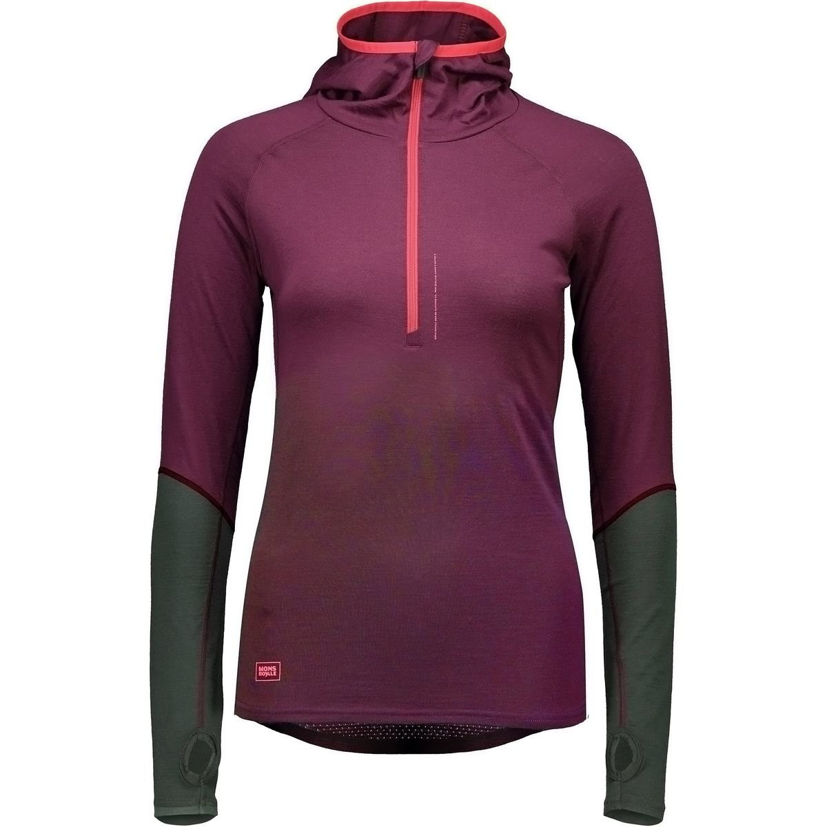 Mons Royale Checklist Long-Sleeve Hoodie - Women's Burgundy/Forest Green, M