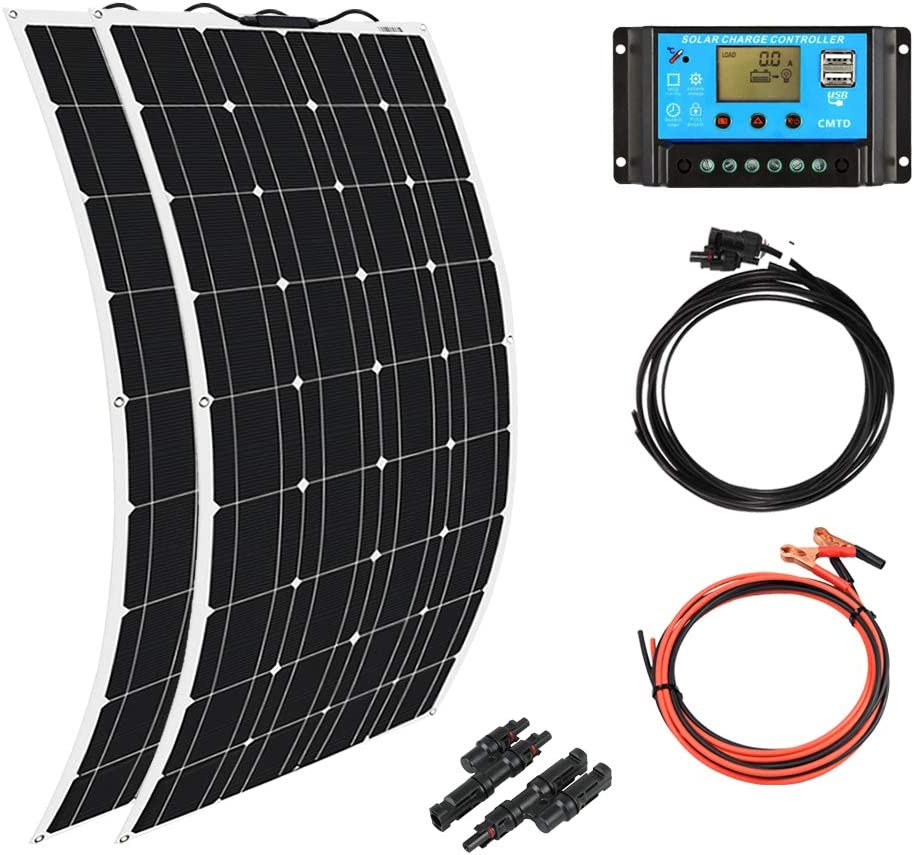 XINPUGUANG 2pcs 100w Monocrystalline Solar Panel Flexible 200W 12V Solar System kit Photovoltaic Module Cell 20A Controller PV Connector for Home,RV,Caravan,Boat and Other Battery Charger200W