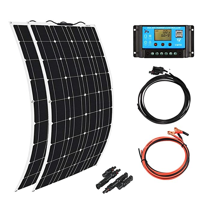 XINPUGUANG 2pcs 100w Monocrystalline Solar Panel Flexible 200W 12V Solar System kit Photovoltaic Module Cell 20A Controller MC4 Connector for Home,RV,Caravan,Boat and Other Battery Charger200W best home solar panels