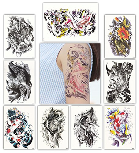 DevilFace Large Temporary tattoos for Men Women, 9 Sheets Fake Tattoo (Koi Fish) Koi Tattoo