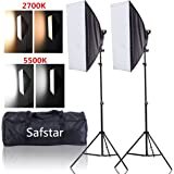 """Safstar Photography Softbox LED Continuous Lighting Kit for Photo Video Studio 20""""x27"""" (Color Changeable)"""