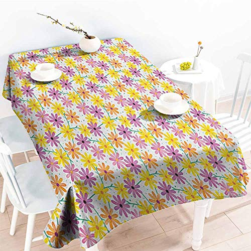 familytaste Garden Art,Table Cloth for Outdoor Picnic Dotted Background with Colorful Gerbera Daisies Gardening Themed Illustration 60