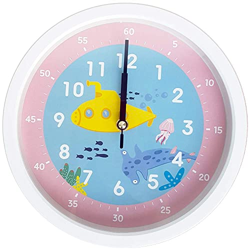 Bronzehouse Easy Read Time Teacher Children s Wall Clock Silent Non-Ticking Quartz Movement Learn to Tell The time Kids Clock Sea