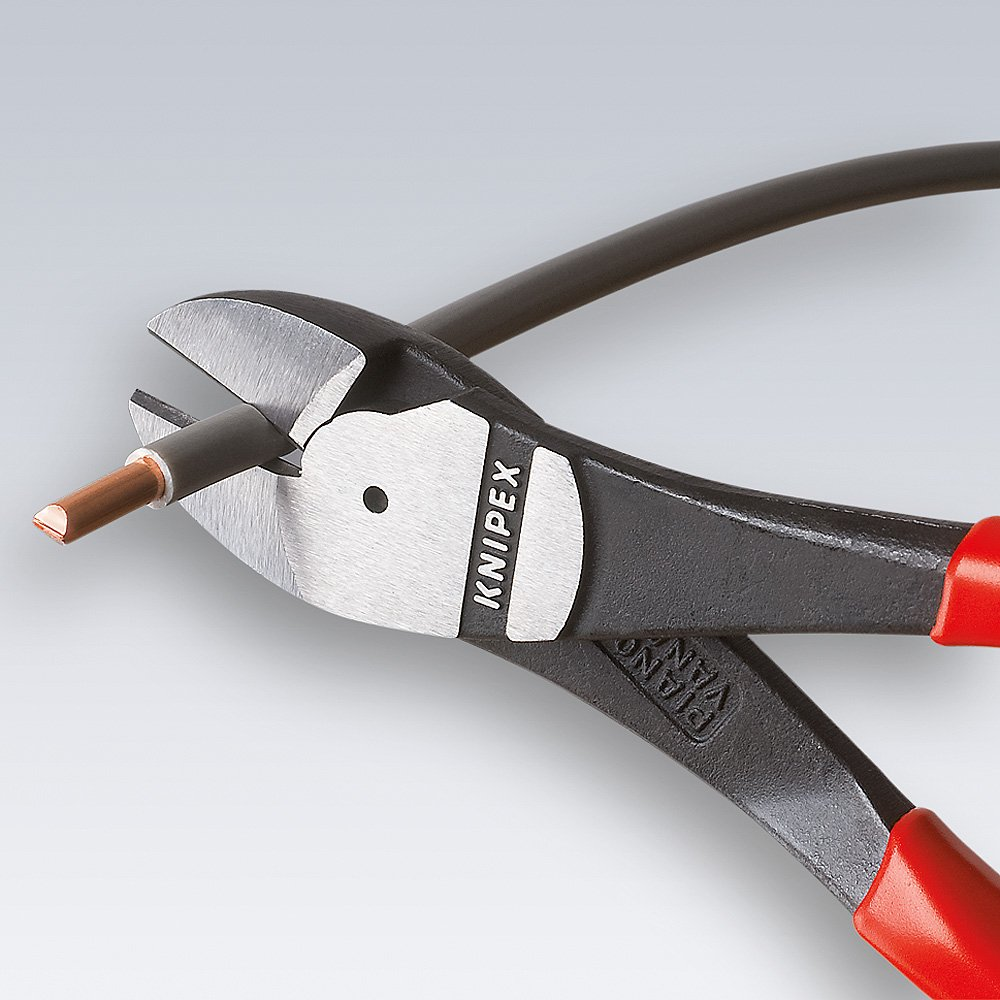 KNIPEX 74 02 250 SB Alicate de corte diagonal tipo extra fuerte negro atramentado con fundas en dos componentes 250 mm