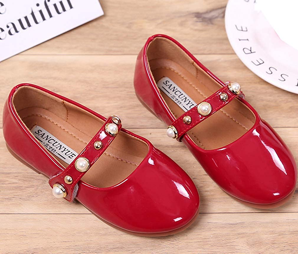 Toddler//Little Kid iDuoDuo Girls Candy Color Patent Leather School Uniform Shoes Casual Dress Flats