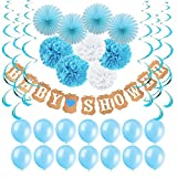 Baby Shower Decorations for Boy,Baby Shower Banner,Tissue Paper Fans,Paper Pom Poms,Hanging Party Supplies