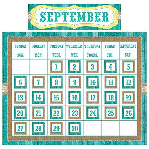 Teacher Created Resources TCR9541 Shabby Chic Calendar Set, 49 Pieces