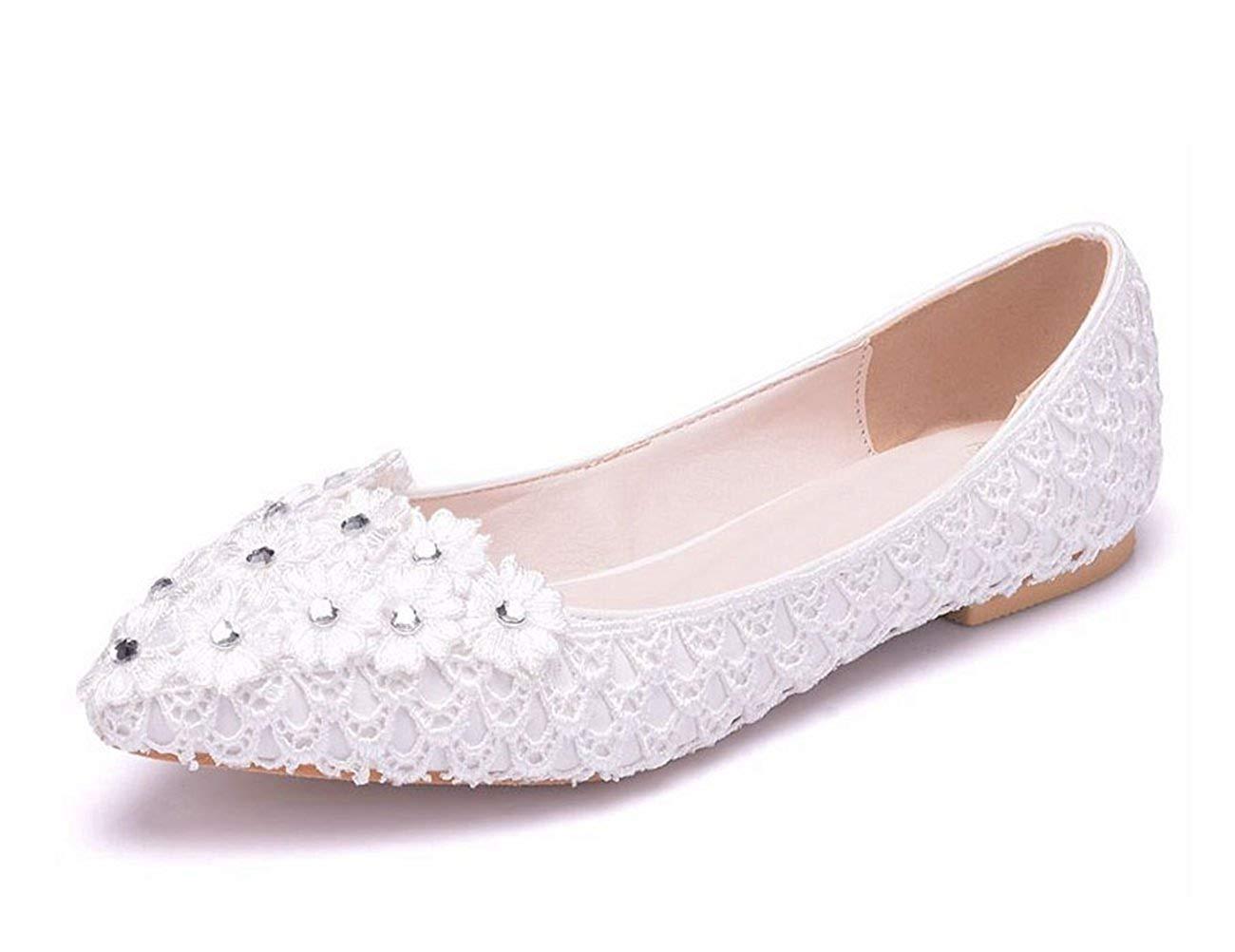 Qiusa Qiusa Qiusa Damen Spitze Spitze Blaumen Slip-on Weiß Hochzeit Kleid Party Wohnungen UK 5.5 (Farbe   - Größe   -) 1e57d0