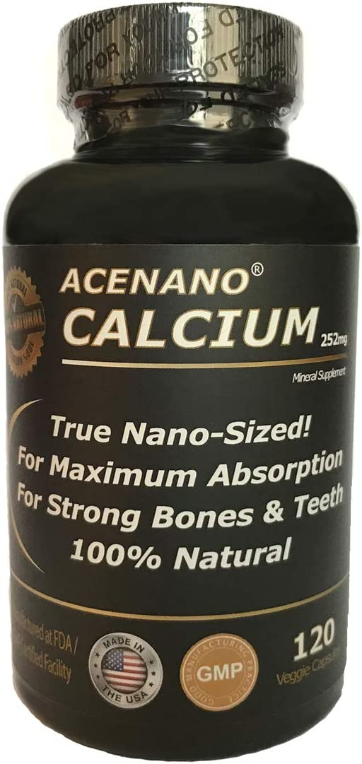 AceNano Nano Calcium Supplement, 1 Bottle, True Nano Sized Calcium Powder in Capsule for Super Absorption, Made in USA