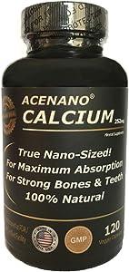 AceNano Nano Calcium Supplement, 1 Bottle, True Nano Sized Calcium Powder in Capsule for Super Absorption, Made in USA