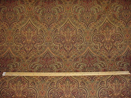 195H7 - Sienna / Hunter / Burgundy Persian Paisley Medallion Kilim Tapestry Drapery Upholstery Drapery Fabric - By the Yard (Paisley Chenille Tapestry Fabric)