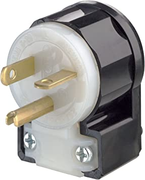 Leviton 5366 Ca 20 Amp 125 Volt Straight Blade Plug Industrial Grade Grounding Angle Black White Electric Plugs Amazon Com