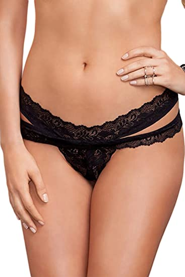 02dd36552ec0 Women's Sexy Black Scalloped Lace Thong g-string Underwear at Amazon ...