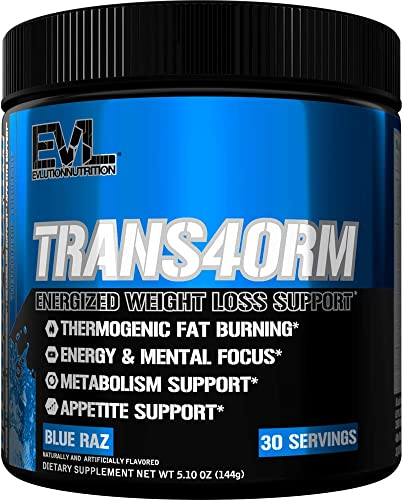 Evlution Nutrition Trans4orm Thermogenic Energizing Fat Burner Supplement, Increase Weight Loss, Energy and Intense Focus, 30 Servings Blue Raz
