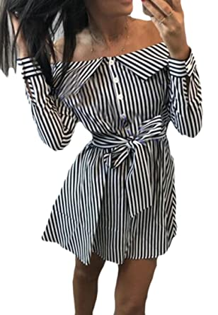 0b7dd4a1a846 Etecredpow Ladies Long Sleeve Pleated Tie Waist Off Shoulder Striped Button Front  Dresses Black Small
