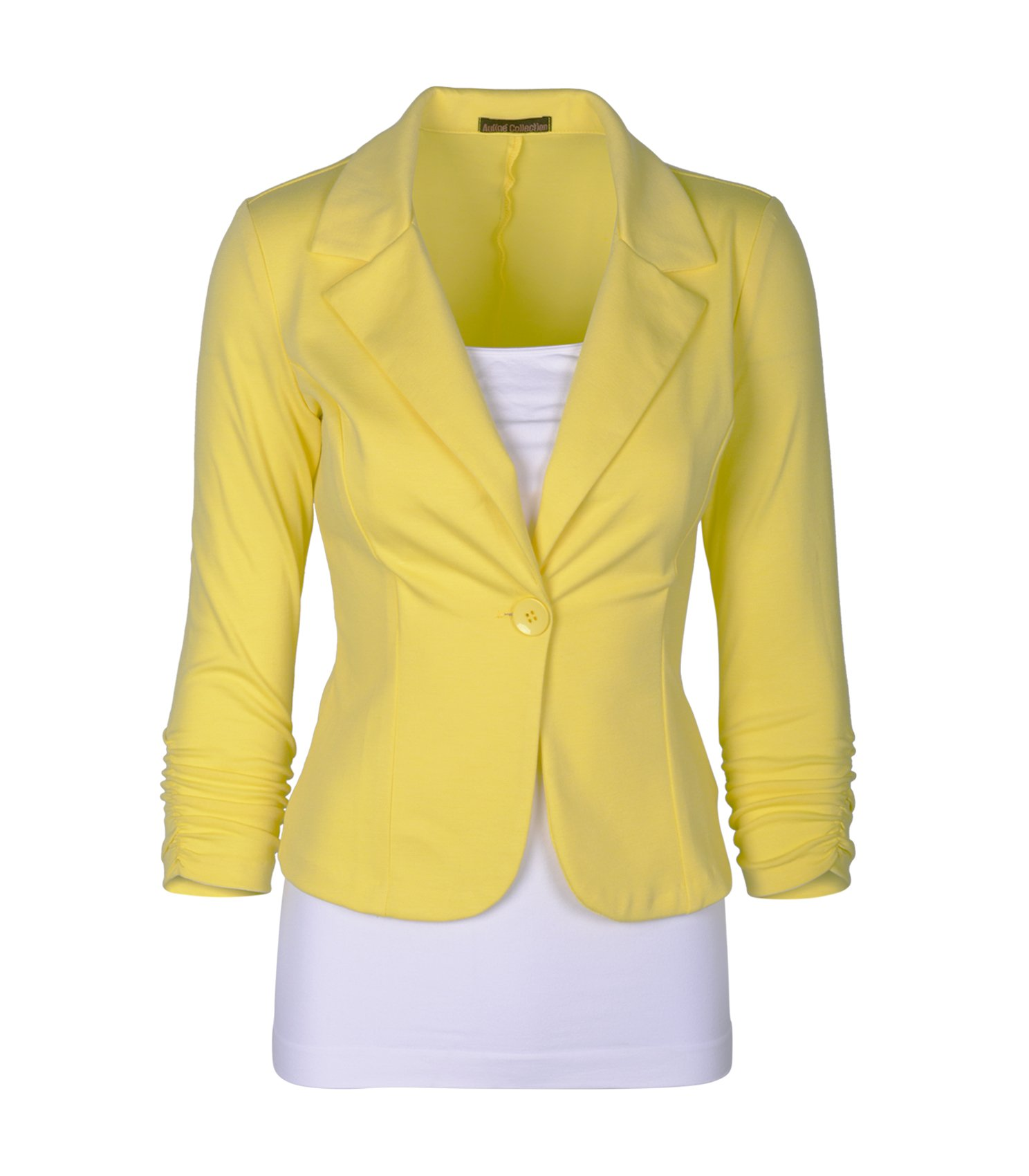 Auliné Collection Women's Casual Work Solid Color Knit Blazer Yellow 3X