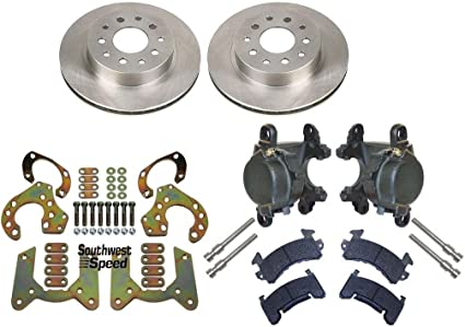 "NEW REAR BRAKE ROTORS,9/"" FORD BOLT-ON BRACKETS,/& GM METRIC CALIPER SET WITH PADS"