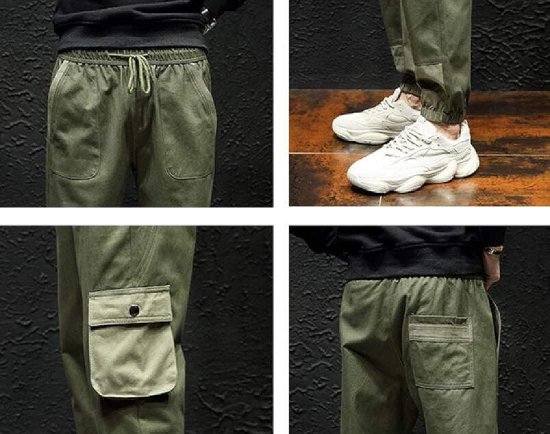 Jofemuho Men Color Block Casual Elastic Waist Multi Pockets Jogger Cargo Pants