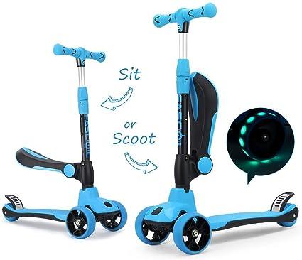 Fascol 2 en 1 Patinete de 3 Ruedas de LED para Niños Scooter Vespa de Asiento Desmontable para 18 Meses - 8 años Niños Patinete de Carga Máxima: 50 kg ...
