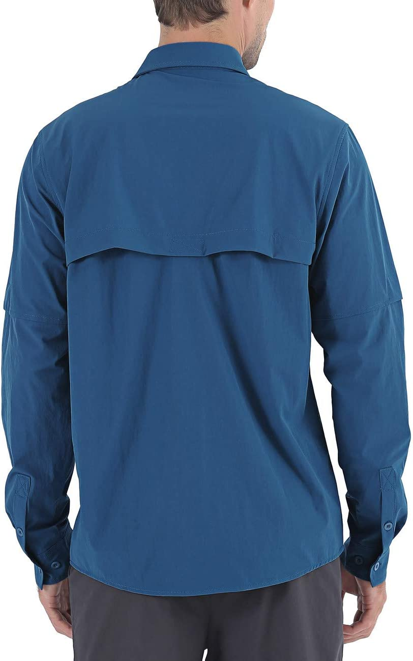 Nonwe Mens Quick Dry Hiking Camping Shirts Roll-Up Long Sleeve