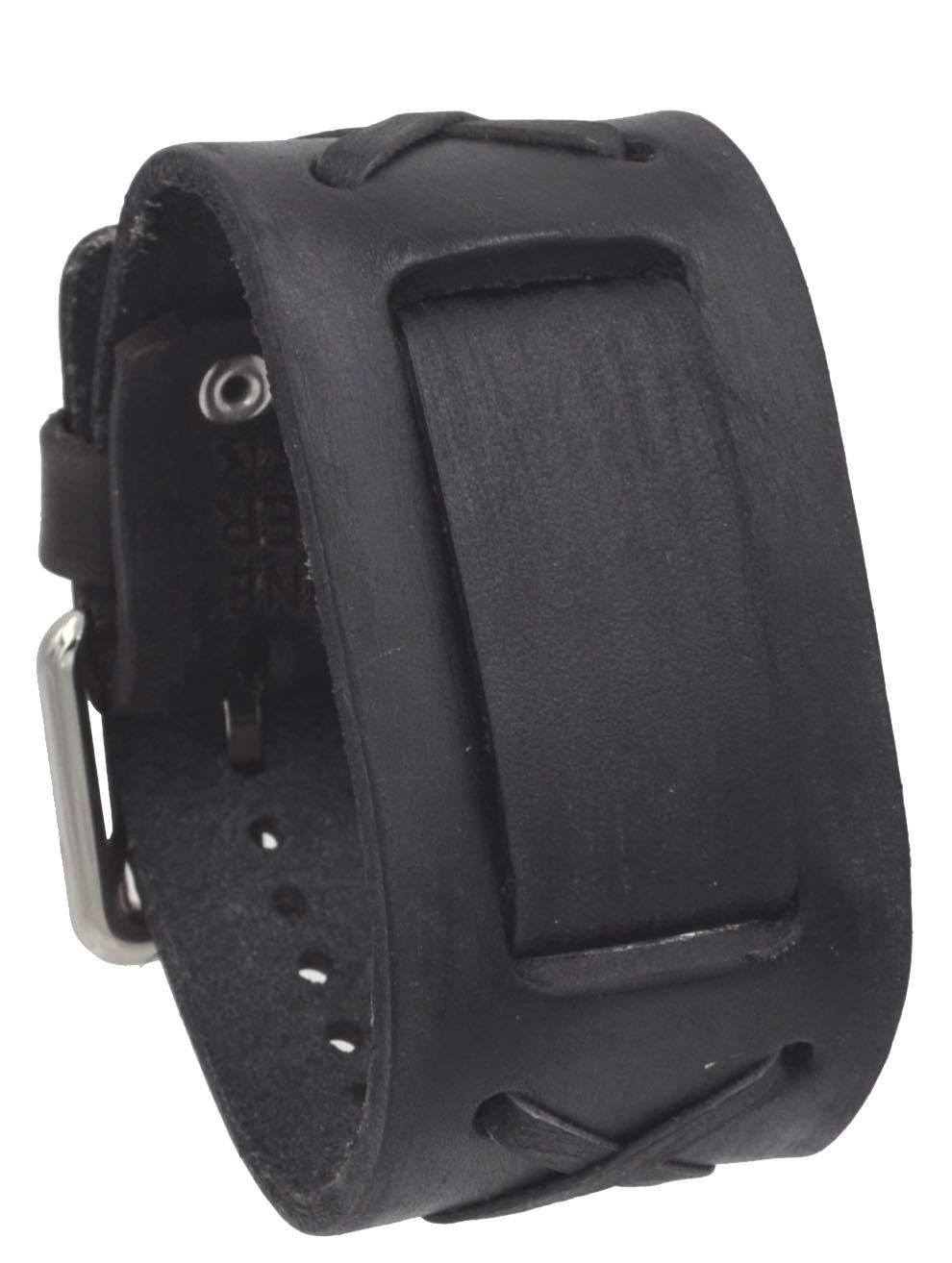 Nemesis #FXB-KK Charcoal 39mm Wide 20mm Lug Width Wide Leather Watch Cuff Band by Nemesis