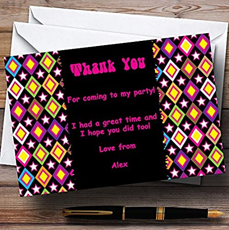 Pink Black Purple Retro Personalized Party Thank You Cards