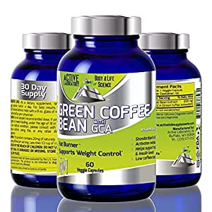 Green Coffee Bean Extract with GCA - 1600mg - Standardized to 50% Chlorogenic Acids - Best Formula for Weight Loss - Fat Burner, Clinically proven, Women and Men - 100% Guaranteed By Active Laboratory