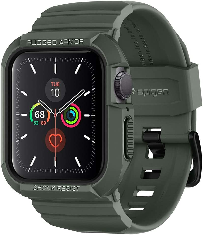 Spigen Rugged Armor Pro Designed for Apple Watch Band with Case for 40mm Series 6/SE/5/4 - Military Green