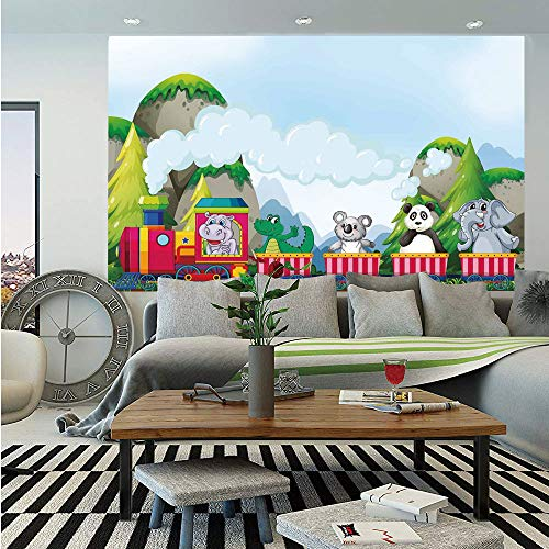 SoSung Kids Removable Wall Mural,Various Animals Riding on Train in The Park with Mountains Cartoon Style Illustration,Self-Adhesive Large Wallpaper for Home Decor 66x96 inches,Multicolor