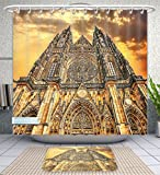 Unique Custom Bathroom 2-Piece Set Gothic Decor Famous Cathedral European Church Catholic Gifts Sunset Tower Medieval Architecture Prague P Shower Curtains And Bath Mats Set, 71''Wx79''H & 31''Wx20''H