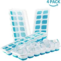 DOQAUS Ice Cube Trays 4 Pack, Easy-Release Silicone and Flexible 14-Ice Cube Trays with Spill-Resistant Removable Lid…