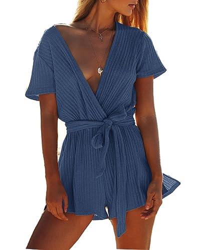 LemonGirl Blusa con cuello en V para mujer Camisas de botones con cinturón
