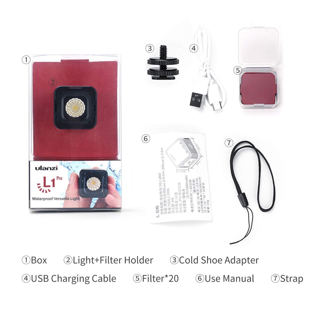 Pocket Waterproof Dimmable LED Video Light on Camera ULANZI L1 ...