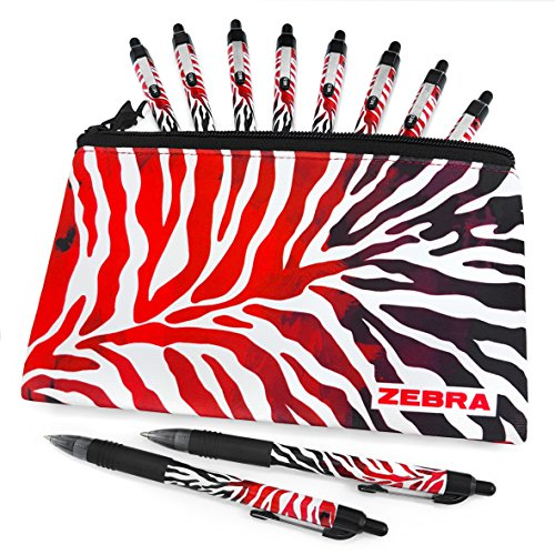 Zebra Z-Grip Smooth - Limited Edition Funky Flame Design - Pack of 10 Black Ink Pens with Matching Pencil Case