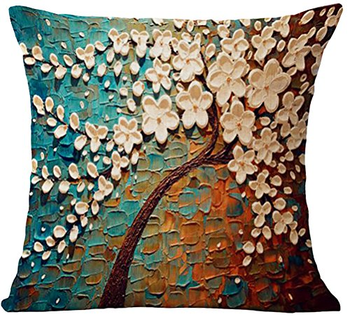 ChezMax Oil Painting Home Decorative Cotton Linen Throw Pillow Cover Cushion Case Square Pillowslip For Sofa Beige Flowers 18 X 18'' (Cheap Settee For Sale)