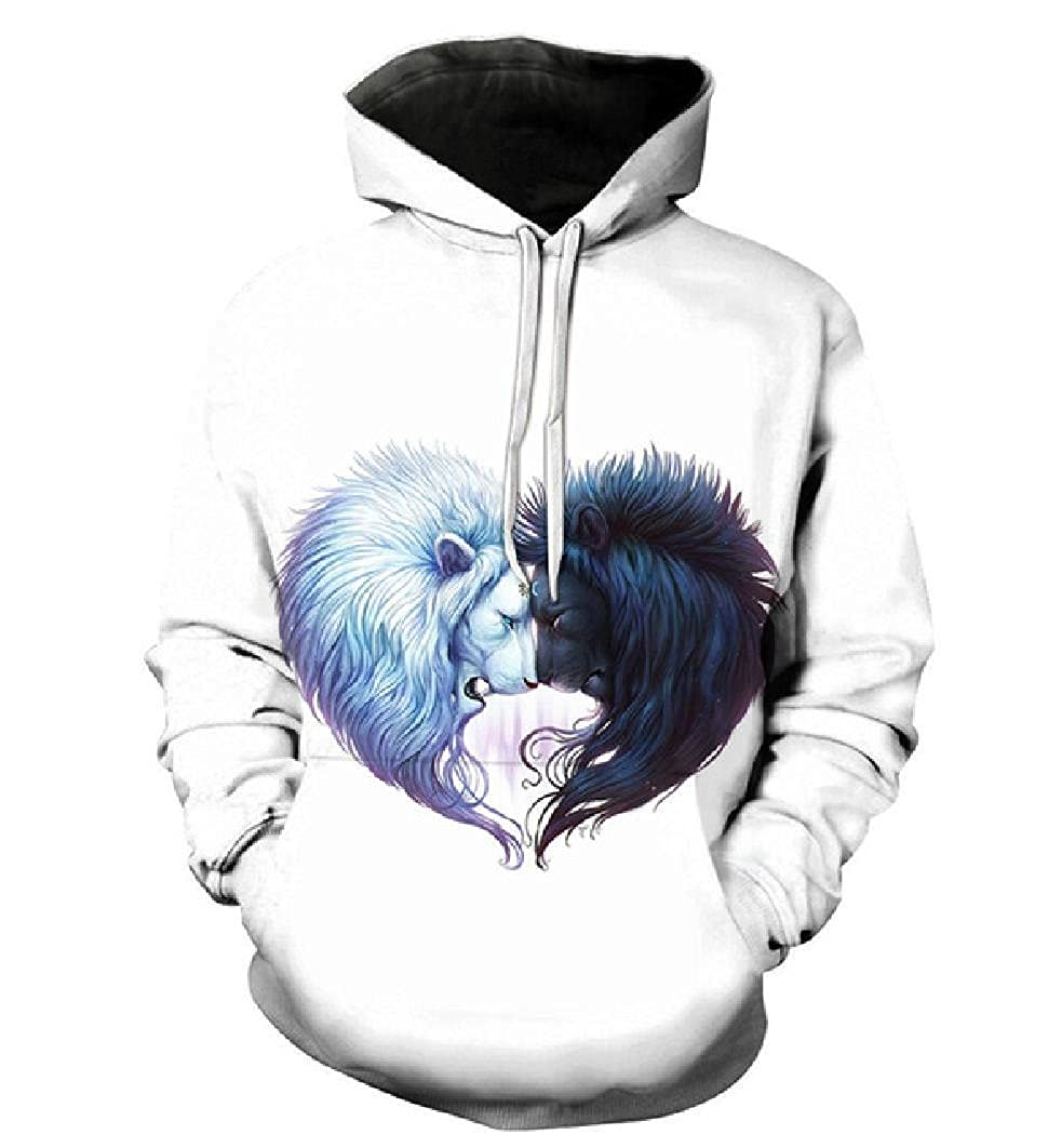 Swag Hipster Fashion Unisex Lion Print Quality 3D Sweatshrit Hooded Tracksuit Male Pullover Casual Streetwear