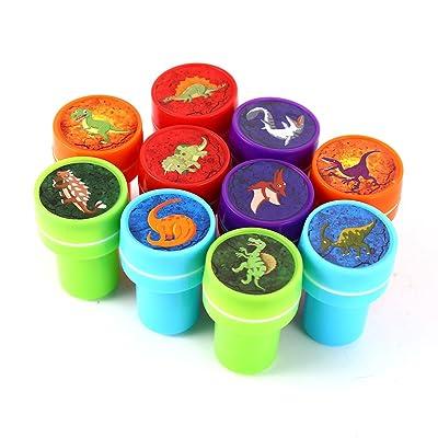 Zantec 10 piezas surtido de sellos de dinosaurios Kids Party Favors Suministros de evento para la fiesta de cumpleaños Juguetes de regalo Boy Girl Pinata rellenos: Hogar