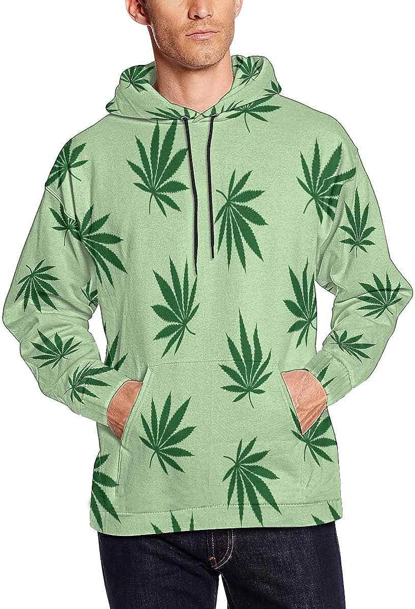 INTERESTPRINT Mens Green Leaves Cannabis Marijuana Drug Herb Hoodies Sweatshirts