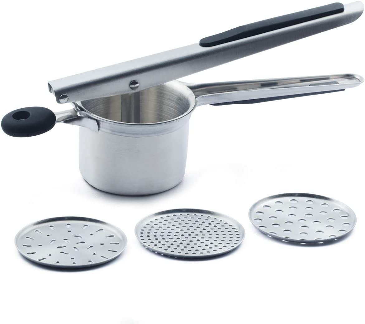 CAMKYDE Stainless Steel Potato Ricer, Potato Masher with 3 Interchangeable Discs for Light and Fluffy Mashed Potato, Fruits, Vegetables, Baby Food