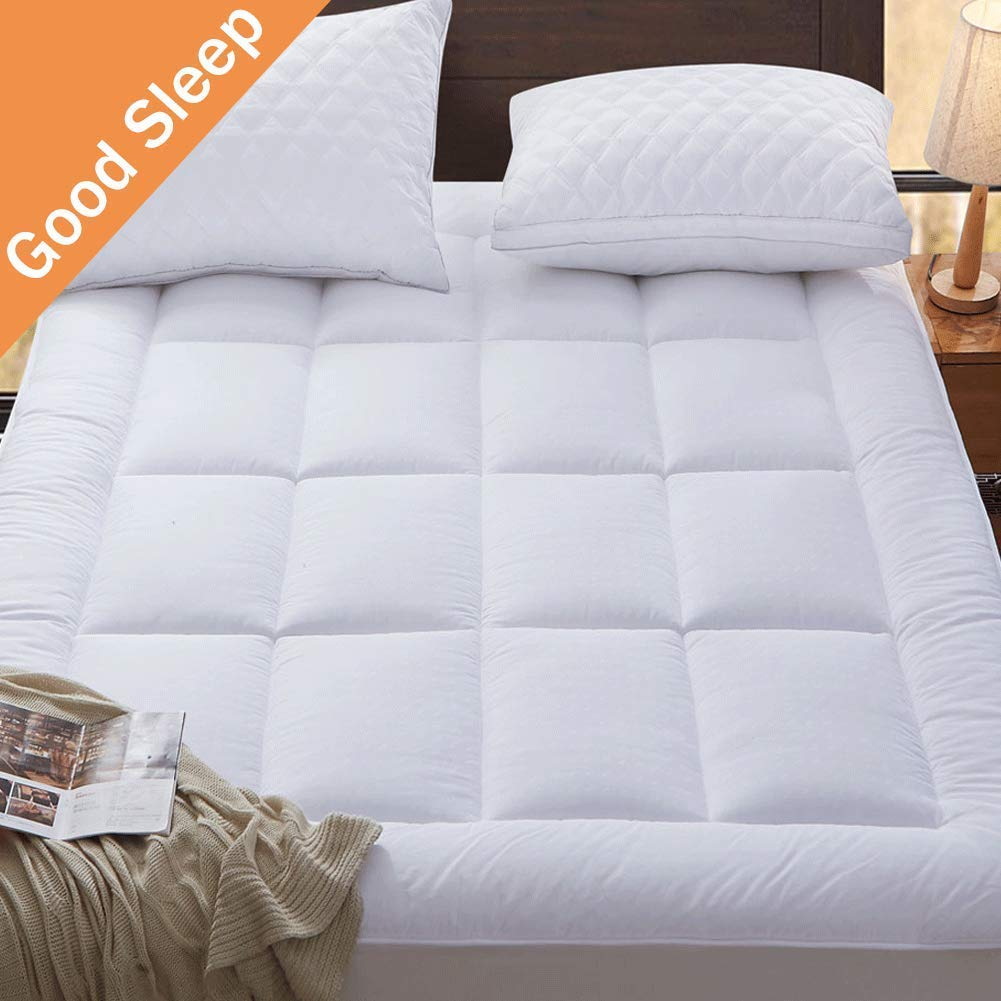 SONORO KATE Mattress Pad Queen Cover - Cotton Down Alternative Fitted Quilted (8-21-Inch Deep Pocket) Mattress Topper - Fill Cooling Hypoallergenic