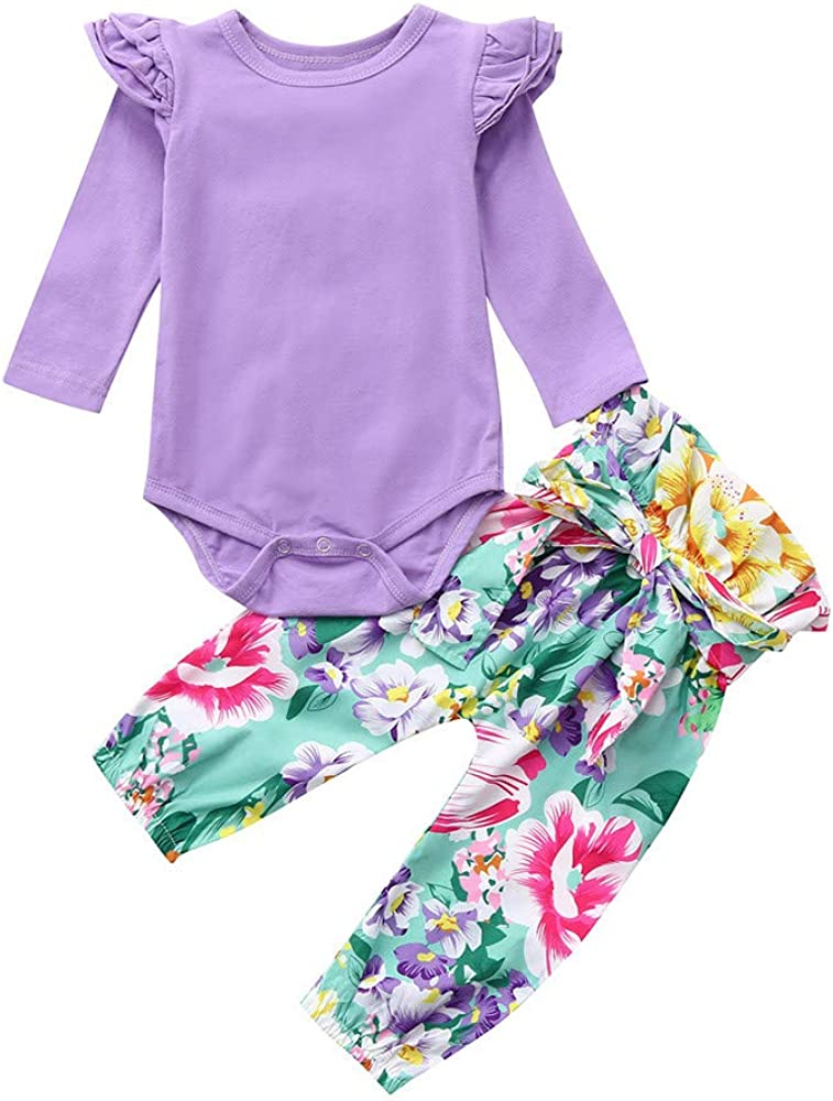 Amazon Com Kimanli Toddler Baby Set Suit Girls Long Sleeves Top Floral Bow Pants Kit Casual Sets Clothing
