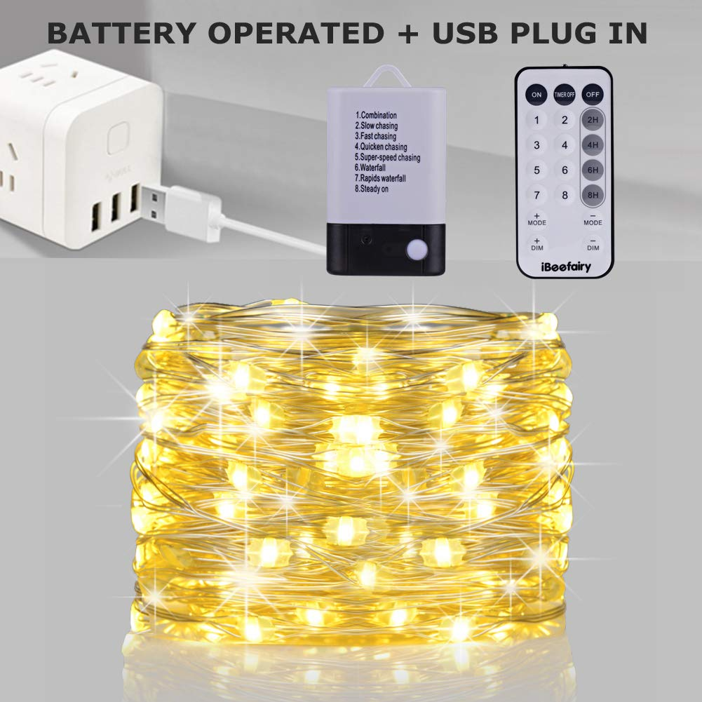 100 LED Firefly Lights for Indoor Outdoor Bedroom Wedding Decor Multi iBeefairy 2 Set Fairy Lights Battery Operated,33ft USB Powered String Lights with Remote