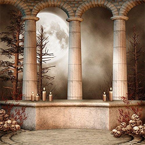 Leowefowa 6X6FT Skulls Backdrop Fairytale Stone Pillars Candles
