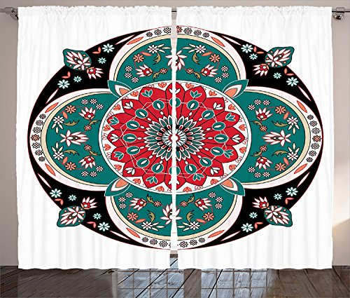 Arabian Decor Curtains 2 Panel Set Oriental Ornate Embriodery Style Floral Ethnic Pattern Illustration of Old Eastern Artistic Living Room Bedroom Decor Multi by sophiehome