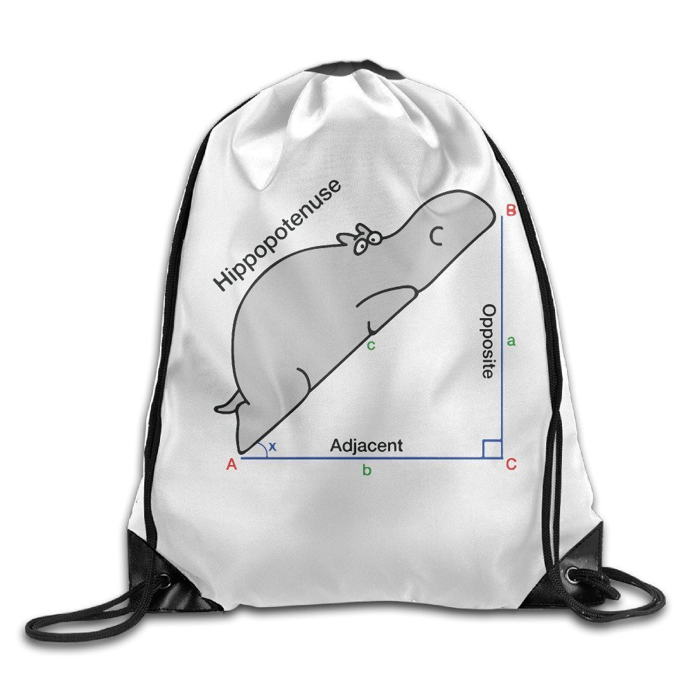 Math Hippo Triangle Gym String Bag Drawstring Backpack